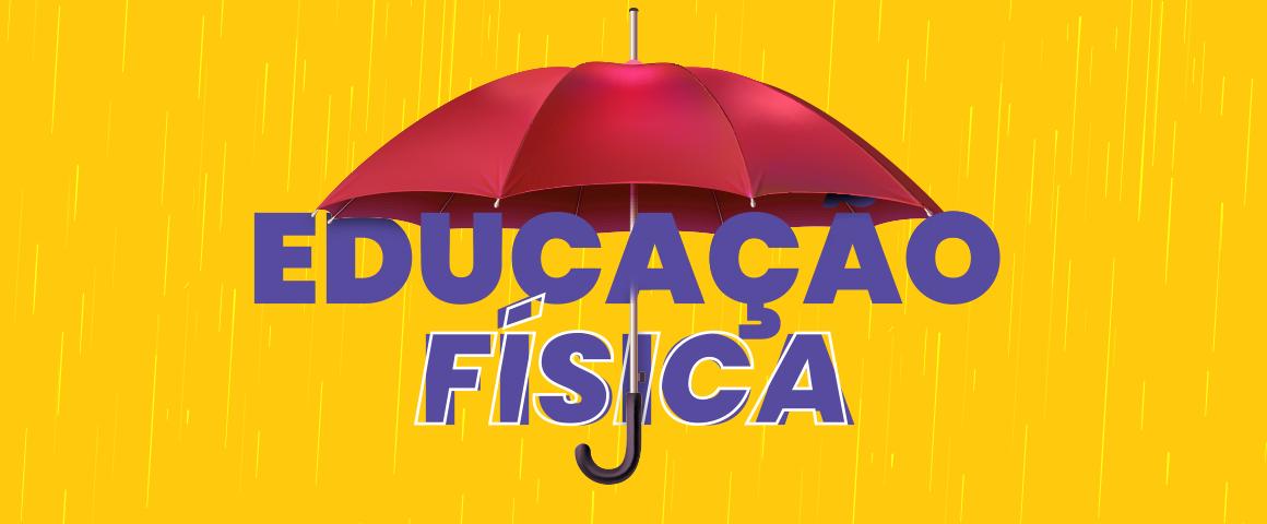 gotas de chuva caindo ao fundo com guarda chuva protegendo as palavras educação física