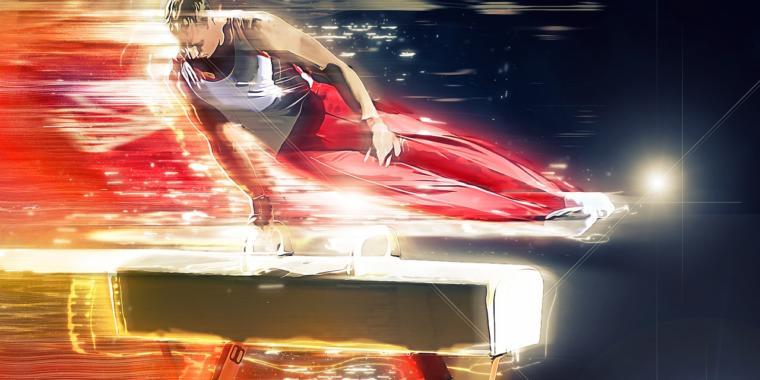 atleta fazendo barra paralela com efeitos na foto dando a impressão de velocidade e calor