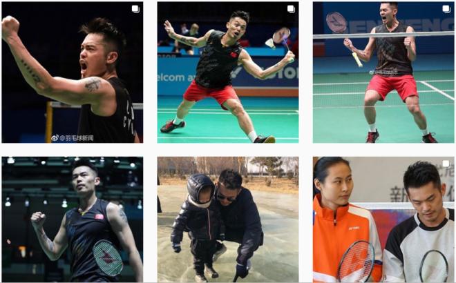 Sequências de fotos do chinês Lin Dan em jogadas de badminton e com a família