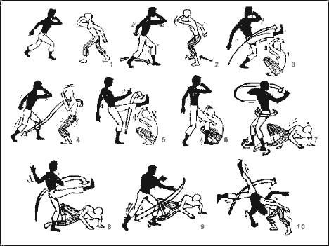 imagens de movimentos de capoeira numerados