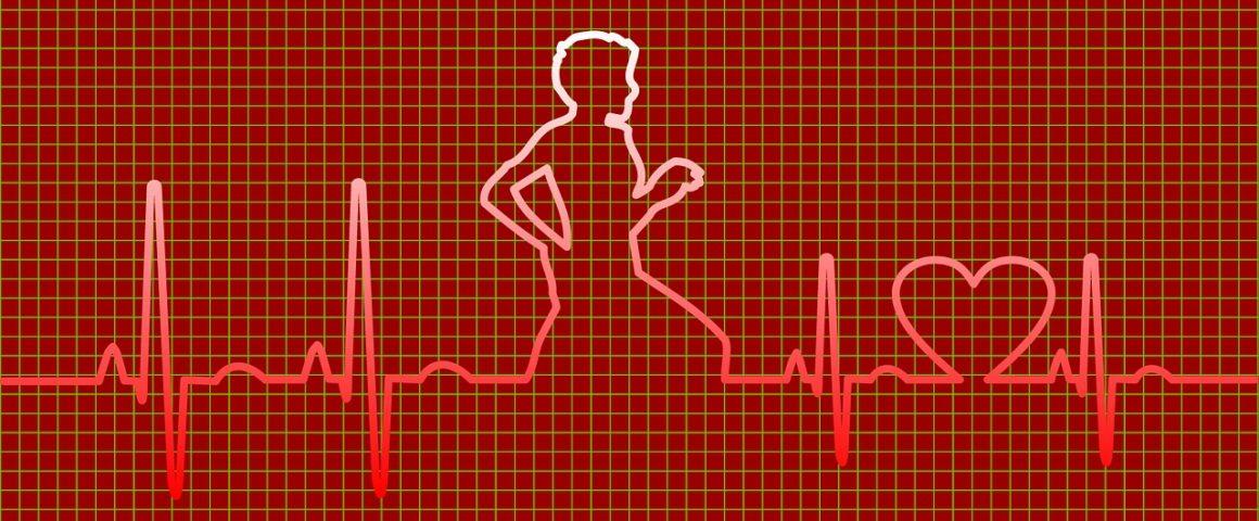 pessoa correndo com linhas de vida e coração estilo batimento cardíaco