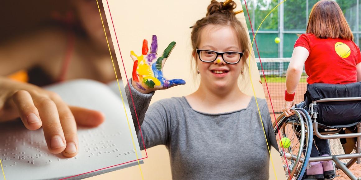 montagem com mao lendo braile, menina com sindrome de down e mao colorida de tinta e garota cadeirante de costas em quadra de tenis