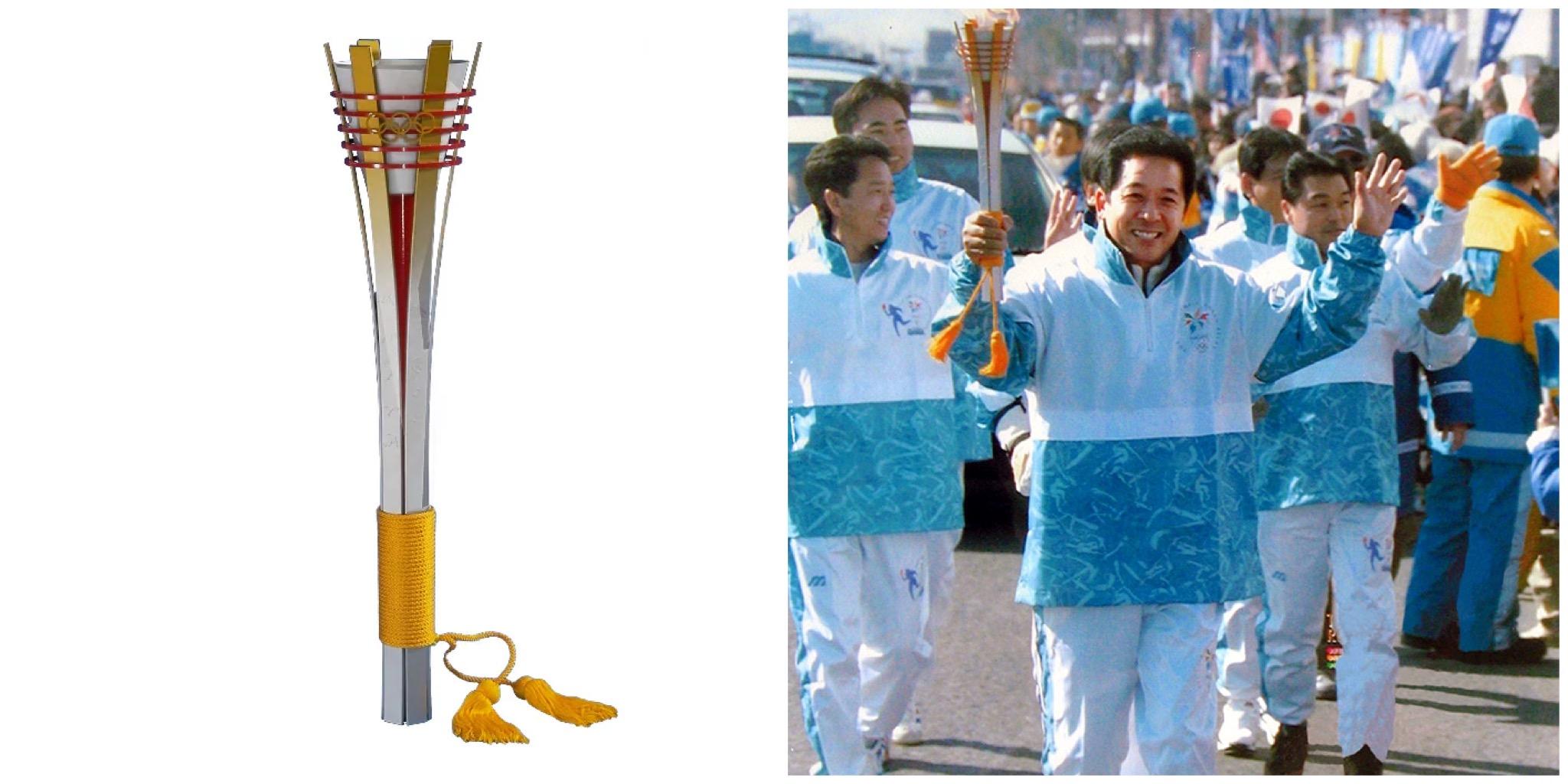 Mitsuru Kawai, atual membro executivo da Toyota carregando a tocha dos Jogos Olímpicos de 1998