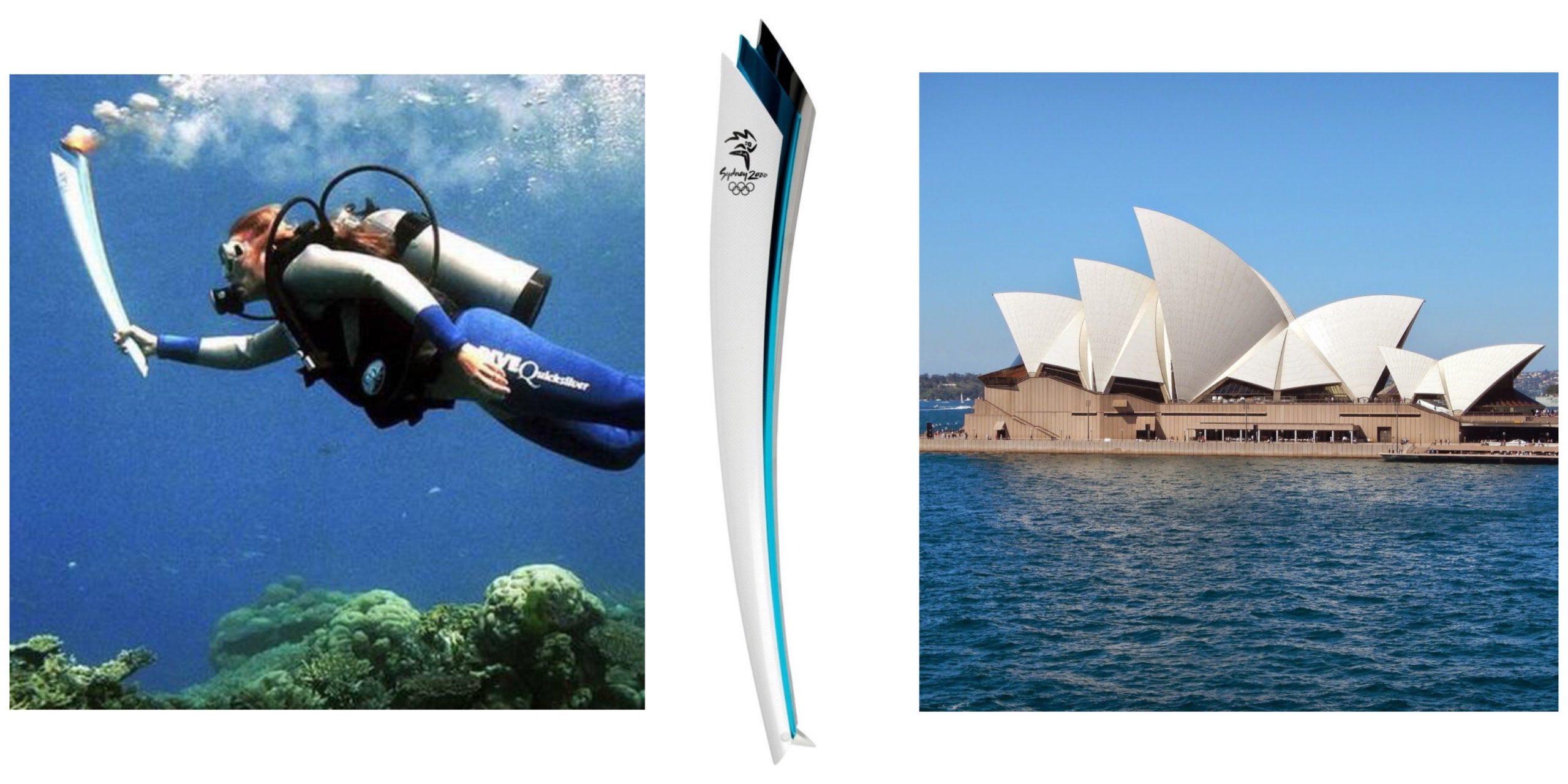 """Momento em que a tocha """"mergulhou"""" pela primeira vez / Teatro de Sidney que inspirou o design da tocha Olímpica dos Jogos Olímpicos de 2000"""