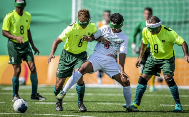 Jogo de futebol de 5 masculino entre Brasil e Irã nos Jogos Paralímpicos Rio 2016