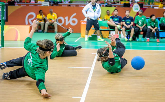 Goalball feminino entre Brasil e Argélia nos Jogos Paralímpicos do Rio 2016